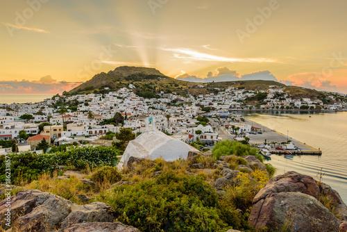 Keuken foto achterwand Beige Beautiful sunset view of Skala village in Patmos island, Dodecanese, Greece