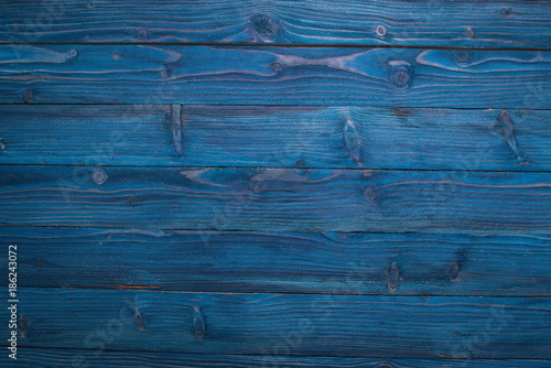 Wooden texture blue background. Top view. Copy space. - 186243072
