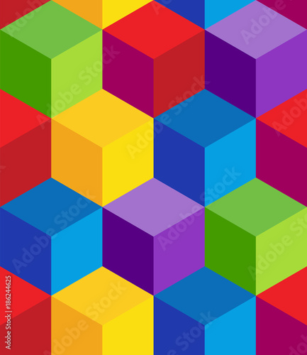 Raibow 3D Cube Pattern © John Takai