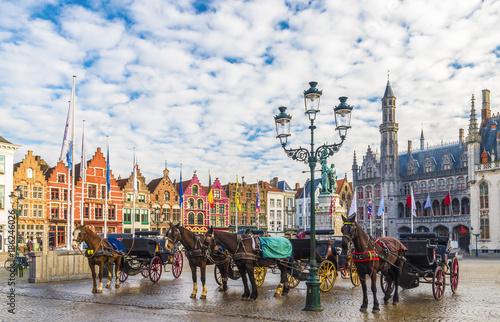Deurstickers Brugge Grote Markt square in medieval city Brugge, Belgium.