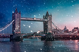 Tower Bridge  with falling snow during sunset, London, United Kingdom - 186246882