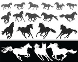 Black silhouettes of horses on a white background and  white silhouettes  on a black background  - 186248067