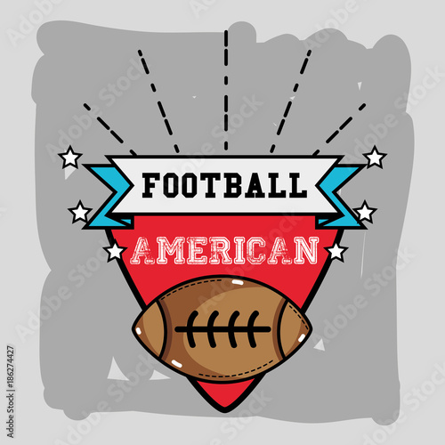 Staande foto Bol american football emblem with ribbon and ball