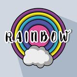 cute circle rainbow with cloud design - 186274663