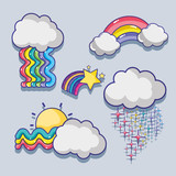 set cute rainbows with clouds design