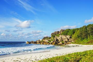 paradise beach on the seychelles, grand anse, la digue 7