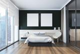 Black bedroom interi...