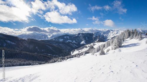 Fotobehang Wit Austrian Alps in Salzburger Land in Winter