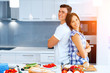 Couple cooking together at home - 186299851