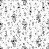 Black and white background with floral patterns and polka dots.