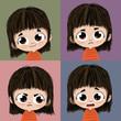 Expresiones de un niño, feliz, triste, enfado y miedo