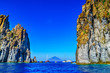 Leinwandbild Motiv eolian island, landscape with rocks close to Stromboli volcano, Sicily