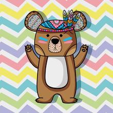 Animal Bear Tribal  Feathers Design Sticker