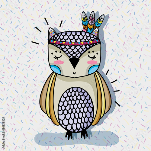 Fotobehang Uilen cartoon cute owl animal with feathers design