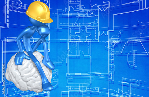 The Original 3D Character Construction Worker Illustration