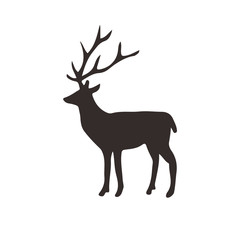 Deer silhouette, Vector illustration