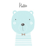 Hand drawn cool bear. Perfect for kids print, poster. Vector illustration. - 186363255