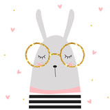 Cute bunny and golden glitter glasses. Vector hand drawn illustration. - 186363280