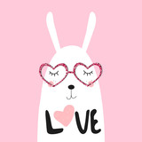 Cute white bunny. Valentines day greeting card. Vector hand drawn illustration. - 186363287
