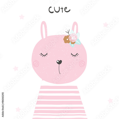 Kids print with cute bunny. Vector hand drawn illustration.