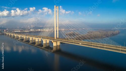 Obraz na płótnie Aerial view of the South Bridge. Aerial view of South subway cable bridge. Kiev, Ukraine.