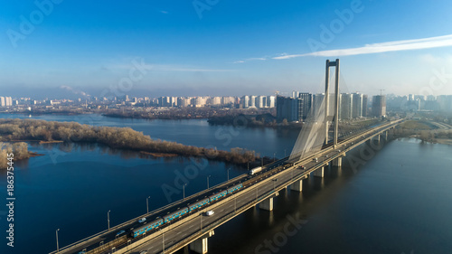 Foto op Plexiglas Kiev Aerial view of the South Bridge. Aerial view of South subway cable bridge. Kiev, Ukraine.