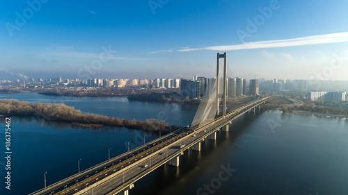 Fotobehang Kiev Aerial view of the South Bridge. Aerial view of South subway cable bridge. Kiev, Ukraine.