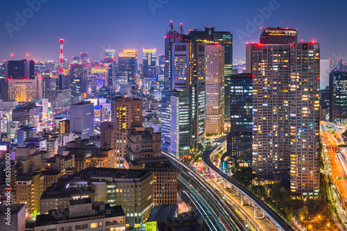 Fotobehang Tokio Night skyline of Tokyo, Japan