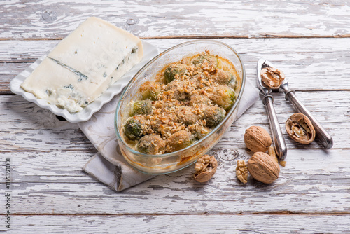 Foto op Canvas Brussel brussel sprouts with gorgonzola cheese and nuts