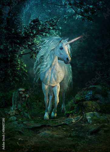 mythical unicorn, 3d CG - 186407280