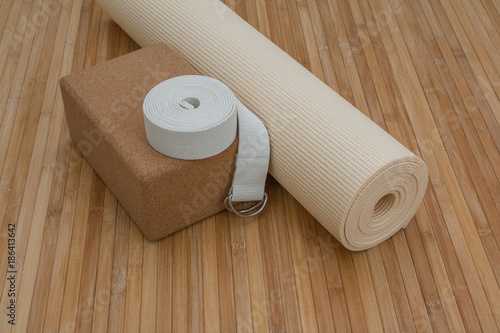 Foto op Canvas Zen Yoga mat and accessories on bamboo mat background