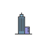Skyscraper building construction filled outline icon, line vector sign, linear colorful pictogram isolated on white. Symbol, logo illustration. Pixel perfect vector graphics - 186416845