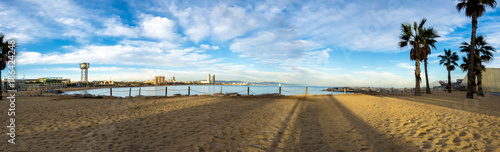 Aluminium Barcelona Beach of San Sebastia with the cable car tower of the port of Barcelona, Catalonia. Panoramic view