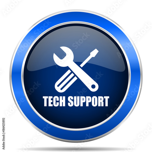 Technical support vector icon. Modern design blue silver metallic glossy web and mobile applications button in eps 10