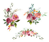Set Watercolor flowers. Hand painted floral illustration. Bouquet of flowers pink rose. Design arrangements for textile, greeting card. Abstraction  branch of flowers isolated on white background. - 186428252