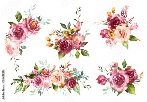 Set Watercolor flowers. Hand painted floral illustration. Bouquet of flowers red rose. Design arrangements for textile, greeting card. Abstraction  branch of flowers isolated on white background. - 186428216