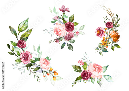 Set Watercolor flowers. Hand painted floral illustration. Bouquet of flowers pink rose. Design arrangements for textile, greeting card. Abstraction  branch of flowers isolated on white background. - 186428232