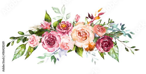 Watercolor flowers. Hand painted floral illustration. Bouquet of flowers rose, leaves and buds. Design arrangement for textile or greeting card. Abstraction  branch of flowers  - 186428269