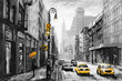 oil painting on canvas, street view of New York, man and woman, yellow taxi,  modern Artwork,  American city, illustration New York - 186429671