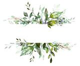 Botanic Card, Watercolor invitation design with herbs and leaves. Hand painted floral background. Template. green  Frame. drawing nature - 186430013