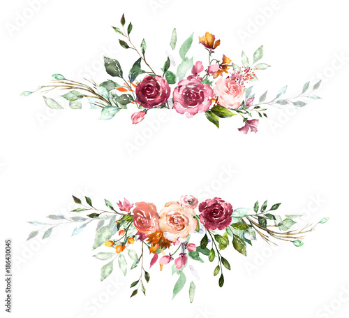 Poster Vintage Card, Watercolor wedding invitation design with pink rose, bud and leaves. wild flower, background with floral elements for text, watercolor background. Template. frame