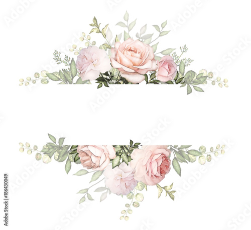 Leinwanddruck Bild Vintage Card, Watercolor wedding invitation design with pink rose, bud and leaves. wild flower, background with floral elements for text, watercolor background. Template. frame