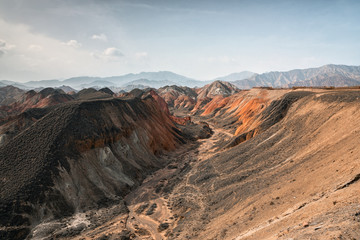 Rainbow mountains in asian geopark at China