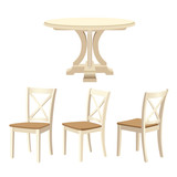 Classic dinning table and chairs set, ivory color. Vector illustration isolated on white background. - 186433805