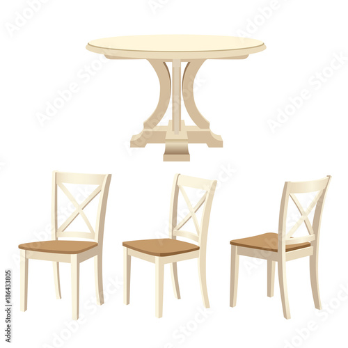 Classic dinning table and chairs set, ivory color. Vector illustration isolated on white background.
