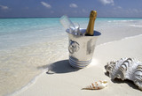 Champagne on a tropical beach - The Maldives poster