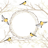 Card with twig frame and birds on tree branches, pastes color gamut. Vector illustration