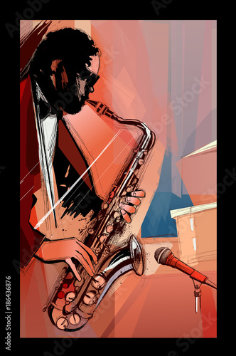 saxophone player on grunge background