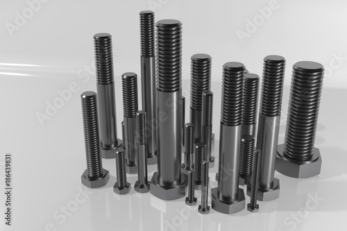 3D render of various metric bolts