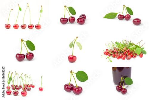 Fotobehang Kersen Set of Ripe cherry on a white background cutout